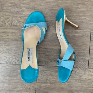 Jimmy Choo Blue Mosaic Heel Mule Sandals